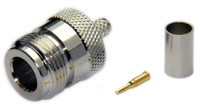 Type N Straight Female Connector for LMR240 / LMR240UF / LOW240 / RG8x -  Crimp Connector with Solder Pin - NFL240CS
