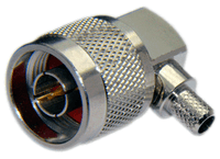 Type N Male Right Angle Connector for RG8x/LMR240/LMR240UF/LOW240 cables - Crimp Connector with Captivated Pin - NML240CRA