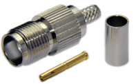 TNC Female Connector For RG8x/LMR240/LMR240UF/LOW240 - Crimp Connector with Solder Pin - TNCFL240CS