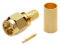 SMA Male Straight Connector For RG58/RG142/RG223/RG400/LMR195/LOW195 - Crimp Connector with Solder Pin - SMAML195CS