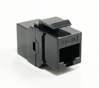 Cat6a RJ45 Inline Keystone Coupler – Black Unshielded