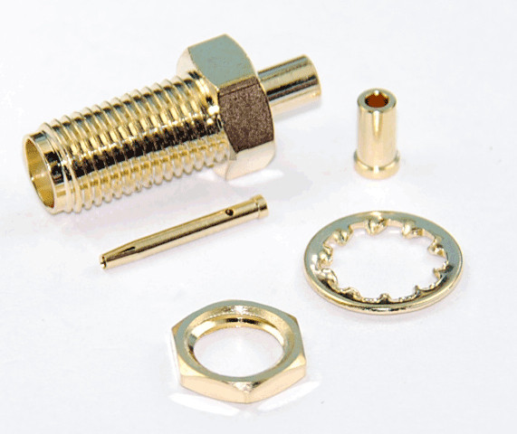 Sma female bulkhead solder type connector for rg cable