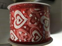 #40 red sheer w/wht glittered 10YDS