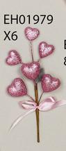 PICK Hearts pink glitter x6 w/ bow