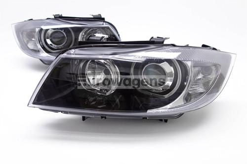 Angel eyes headlights set black BMW 3 Series E90 E91 05-08