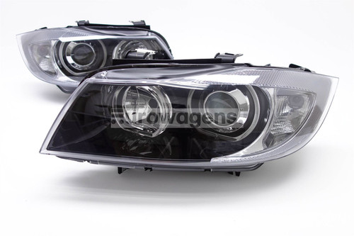 Angel eyes headlights set black BMW 3 Series E90 E91 05-08