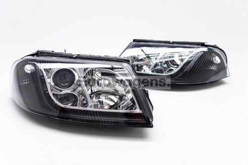 Headlights set DRL black VW Passat 00-05