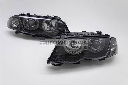 Angel eyes headlights set black BMW 3 Series E46 01-05 4/5 door
