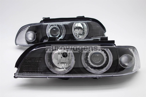 Angel eyes headlights set black BMW 5 Series 95-00