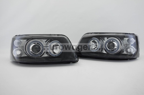 Angel eyes headlights set black VW Transporter T5 Caravelle