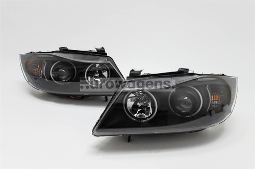 Angel eyes headlights set black CCFL BMW 3 Series E90 05-08