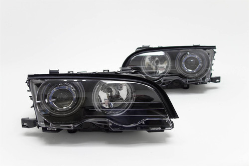Angel eyes headlights set black CCFL BMW 3 Series E46 98-01 2/3 door