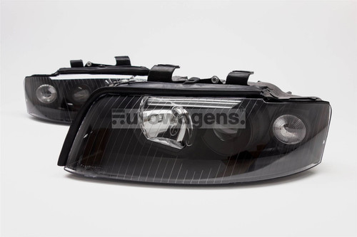 Headlights set black Audi A4 B6 01-04