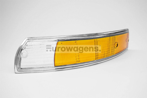 Front indicator lens left clear orange chrome rim Porsche 911 67-74