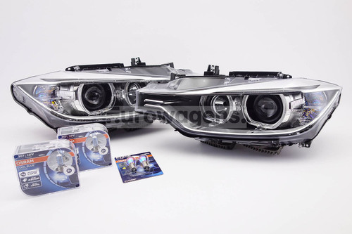 Angel eyes xenon look headlights set with bulbs Osram Cool Blue Intense BMW 3 Series F30 F31 11-15