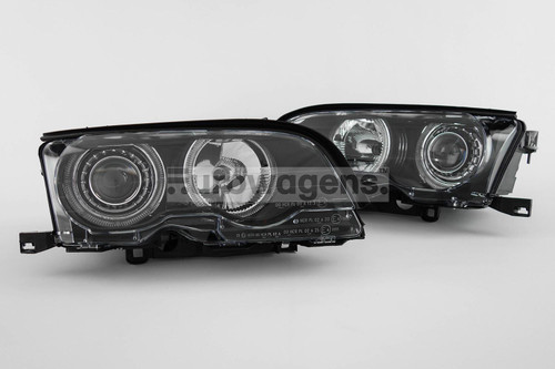 Angel eyes headlights set black BMW 3 Series E46 01-03 2 door only