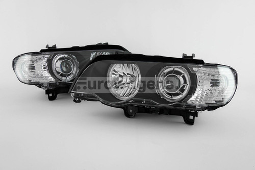 Angel eye headlights set black BMW X5 E53 00-03