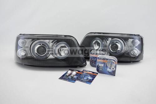 Angel eyes headlights set black VW Transporter Caravelle T5 03-09 with Osram bulbs