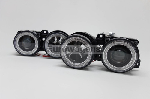Angel eyes headlights set black BMW 3 Series E30 88-92