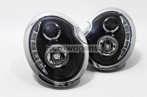 Angel eyes headlights set black Mini Cooper One R51/R52 01-06