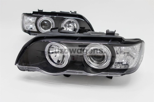 Angel eyes headlights set black BMW X5 E53 98-03