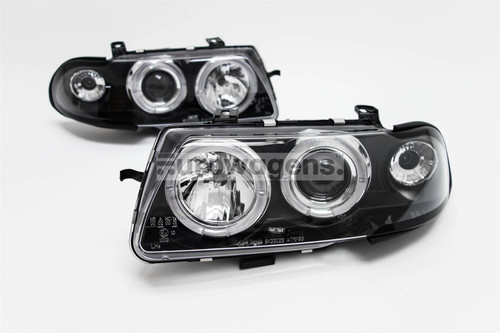 Angel eyes headlights set black Vauxhall Astra F 95-97