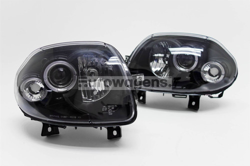 Angel eyes headlights set black Renault Clio MK2 98-01