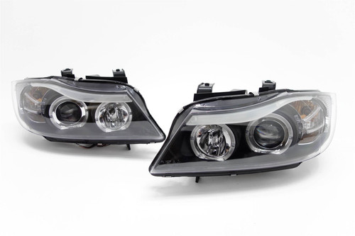 Angel eyes headlights set black BMW 3 Series E90 05-08