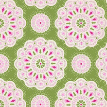 Tilda Autumn Tree Fabric - Doilies - Green 1/2 Metre Length