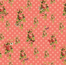 Devotion - Floral Dot Coral 1/2 Metre Length