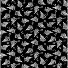 NZ Stipple Fern Colour 4 Black/White  1/2 Metre Length