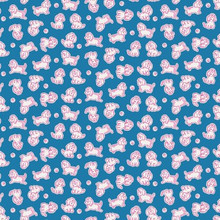 Strawberry Biscuit - Poodle Blue 1/2 Metre Length