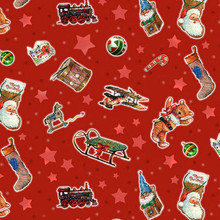 A Day in the Life of Santa - Tossed Toys Red 1/2 Metre Length