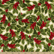 Holly Jolly Christmas - Holly Berry Ivory 1/2 Metre Length