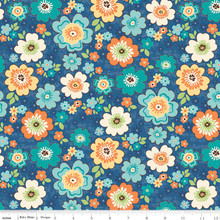 ROAD BLOSSOMS BLUE 1/2 Metre Length