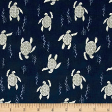 Into the Reef - Swimming Turtles Navy 1/2 Metre Length