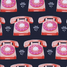 0042 Telephones Navy - Trinket Collection by Melody Miller 1/2 Meter length