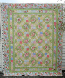 "Leila Rose Floral Quilt 63"" X 77""      Custom Quilted   ONE ONLY"