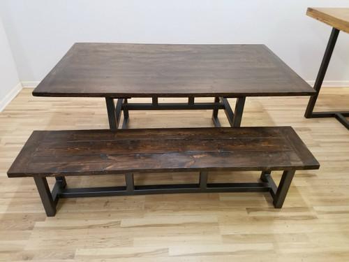 Hand Welded Metal Base Bench Barn Beam Customizable Tables - Metal base picnic table