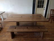 "Bench length 65"", finish color clear Natural, wood type solid walnut."