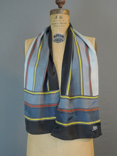 Vintage Striped Silk Scarf, Grey & Black by Kasper, 47x10 inches