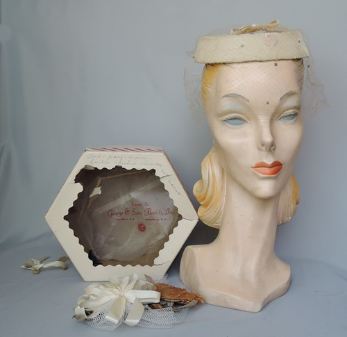 1950s Ivory Velvet Wedding Hat in Box with Corsage, any size