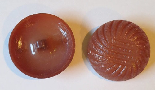 2 Large Light Brown Plastic Coat Buttons, 1960s, 1-1/2 inch