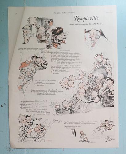 Kewpieville Rose O'Neill Kewpie Page from 1925, Kewpies & Goblins