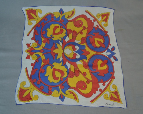 Red, Yellow & Blue Floral Scarf by Burmel, Sheer Vintage 1960s 22 x 22 inches