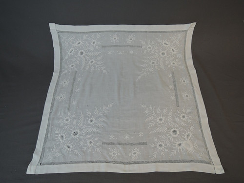 Small Antique Table Cover, Hand Embroidery & Drawn Work, pre 1920s, 33 x 33, some flaws