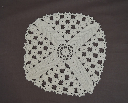 Old Handmade Antique Crochet Doily, 12x11 inches, Vintage 1920s or older
