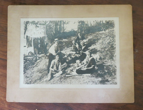 1900s Photo Family in swimsuits camping picnic in the woods 7x9 inches Cabinet Card NJ