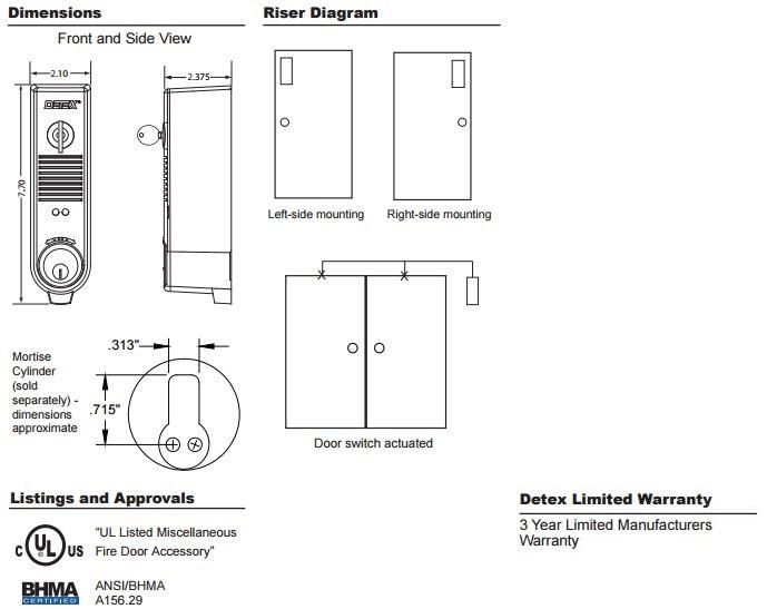 Detex Eax 300w Battery Powered 100db Door Prop Alarm