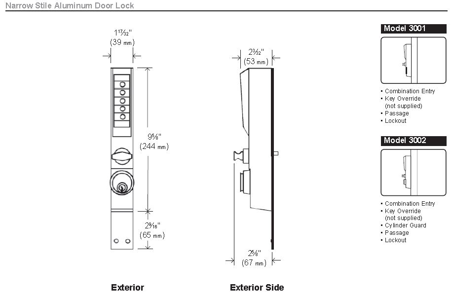 3000-narrow-stile-aluminum-door-lock.jpg  sc 1 st  Locks and Safes Online.com & Simplex 3002-26D Mechanical Pushbutton Narrow Stile Locks